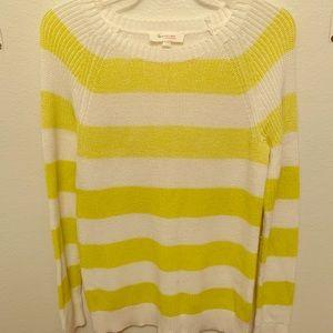 Yellow white striped sweater